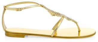Giuseppe Zanotti Josie Flat Swarovski Crystal Metallic Leather Thong Sandals