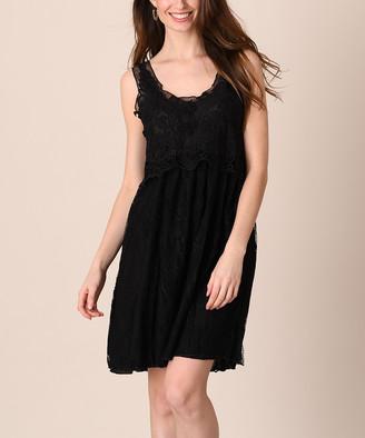 Pretty Angel Women's Casual Dresses BLACK - Black Lace Silk-Blend Popover Dress - Women