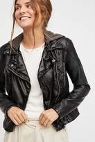 Free People Vegan Leather Hooded Jacket