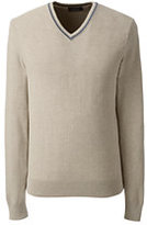 Lands' End Men's Supima Herringbone Texture V-neck Sweater-Pewter Heather