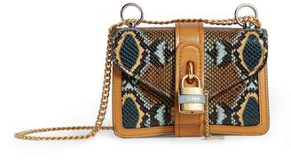 Chloé Mini Leather Python-Embossed Aby Chain Shoulder Bag