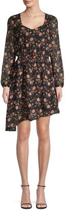 J.o.a. Floral-Print Asymmetrical Mini Dress