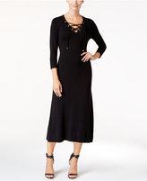 Calvin Klein Lace-Up Midi Sweater Dress