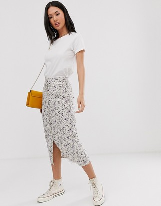 Daisy Street button through midi skirt in vintage ditsy floral
