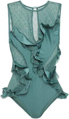 Zimmermann Ruffle-trimmed Point D'esprit-paneled Swimsuit