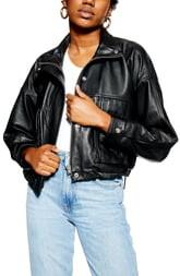 Topshop Funnel Neck Leather Jacket
