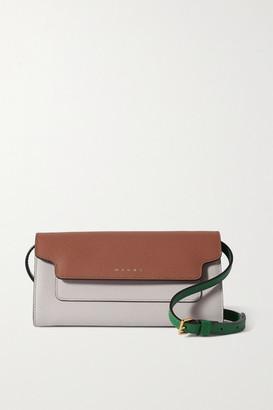 Marni Trunk Color-block Textured-leather Shoulder Bag - Brown