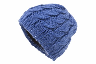 shenky Womens Knitted Hat with Plait Pattern Navy Blue