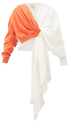 A.W.A.K.E. Mode 2tone Draped Top - Womens - Orange White