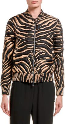 Moncler Abricot Zebra-Striped Cropped Bomber Jacket