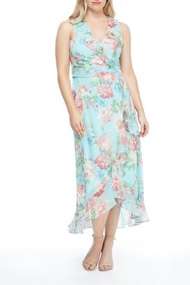 London Times Ruffle Hem Floral Print Dress