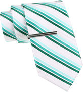 Jf J.Ferrar JF Striped Tie and Tie Bar Set - Slim