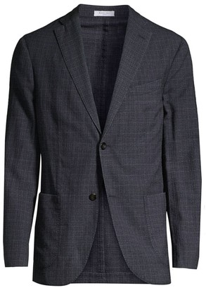 Boglioli Regular-Fit Plaid Single-Breasted Twill Wool & Silk Jacket