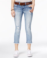 Dollhouse Juniors' Ripped Belted Cropped Skinny Jeans