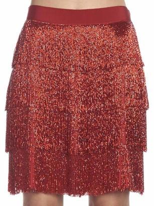 Alberta Ferretti Glitter Layered Skirt