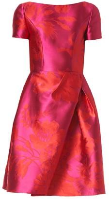 Carolina Herrera Floral Jacquard Wrap-Skirt A-Line Dress