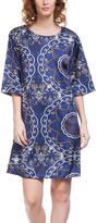 Blue Geometric Three-Quarter Sleeve Shift Dress
