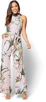 New York & Co. Halter Jumpsuit - Tropical Print
