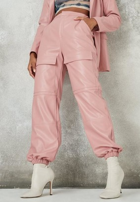 Missguided Blush Faux Leather Cargo Trousers