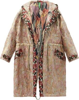 RIANNA + NINA Vintage Hooded Drawstring Floral-brocade Parka - Multi