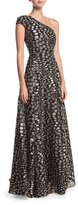 Roland Mouret Hamstead One-Shoulder Floral Fil Coupé Evening Gown, Pink/Black