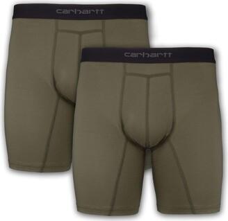 "Carhartt Men's 8"" Inseam Basic Cotton-Poly Boxer Brief 2-Pack"