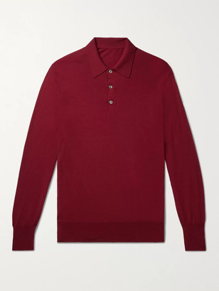 Anderson & Sheppard Virgin Wool Polo Shirt - Men - Burgundy