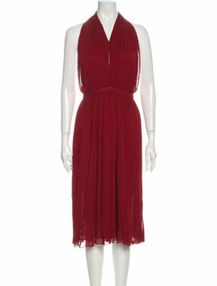 Gucci V-Neck Midi Length Dress Red