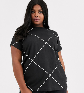 Simply Be high neck t-shirt with check print-Multi
