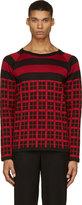 Christian Dada Black & Red Check Knit Shirt