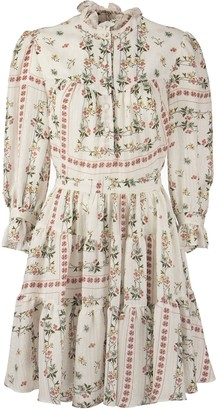 Etro Pantelleria Short Dress In Silk With Floral Print With Long Sleeves