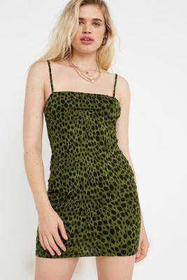 Motel Selah Animal Print Mini Dress - green XS at Urban Outfitters