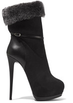 Giuseppe Zanotti Faux fur-trimmed suede and leather ankle boots