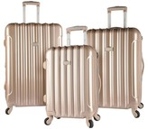Kensie 3 pc Expandable Hardside Luggage Set - Pale Gold