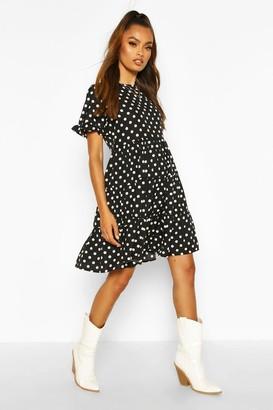 boohoo Polka Dot Ruffle Sleeve Smock Dress