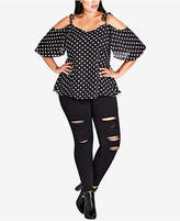 City Chic Trendy Plus Size Pin Spot Printed Cold-Shoulder Top