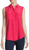 Equipment Sleeveless Slim Signature Silk Top, Rosetta