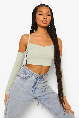 boohoo Cold Shoulder Rib Top