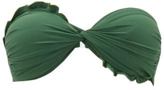 Casa Raki - Ruffle Bandeau Bikini Top - Womens - Green