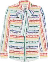 Gucci Pussy-bow Printed Silk Shirt - Ivory