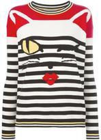 Ermanno Scervino cat intarsia striped jumper - women - Polyester/Cotton - 38