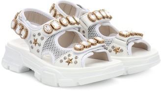 Gucci Aguru leather and mesh sandals