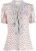 Liberty London Vita mixed-print ruffled blouse