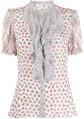 Liberty London Vita mixed-print ruffled blouse