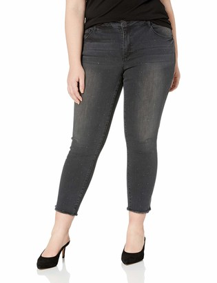 Democracy Women's Plus Size High Rise Slim Straight with Rhinestuds