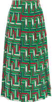 Gucci Pleated Printed Silk Crepe De Chine Skirt - Emerald