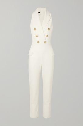 Balmain Button-embellished Wool-blend Jumpsuit - White