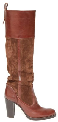 Chloé Knee-high Leather And Suede Boots - Brown