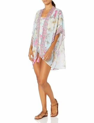 Johnny Was Women's Blue and Pink Printed Short Kimono