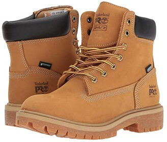 Timberland Direct Attach 6 Steel Safety Toe Waterproof Insulated (Wheat Nubuck Leather) Women's Work Lace-up Boots